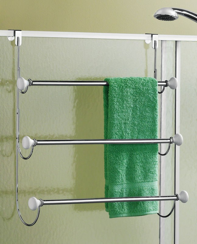 Chrome over the door triple tier bathroom towel rack holder organizer new ebay for Door towel racks for bathrooms
