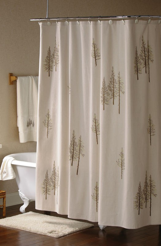 Embroidered Pine Tree Forest Fabric Shower Curtain Lodge Cabin Decor New
