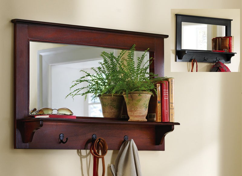 Large entryway wooden wall mirror shelf and coat rack for Hallway mirror and shelf
