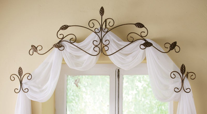 ... Pc Iron Leaf Design Scrollwork Curtain Rod & Tie Back Scarf Set New