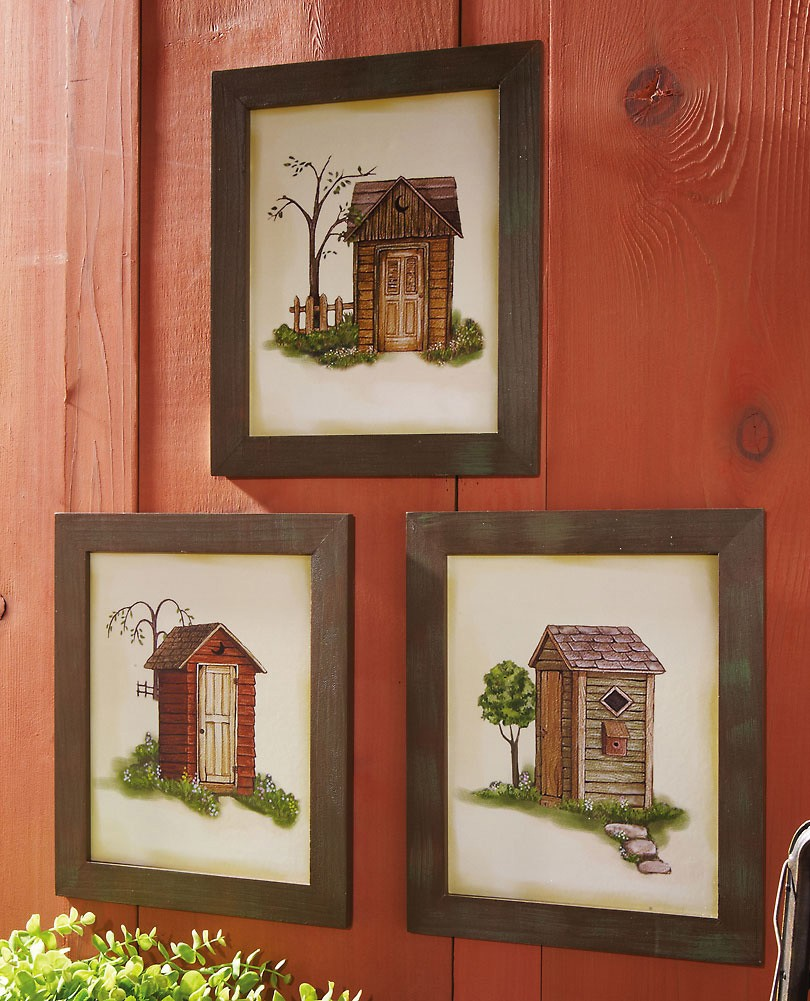 Bear Bathroom OUTHOUSE Wall Plaque Cabin Lodge Pine Forest Home Decor
