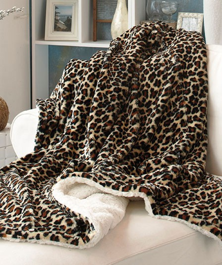 Cozy Soft Plush Reversible Animal Print Sherpa Throw