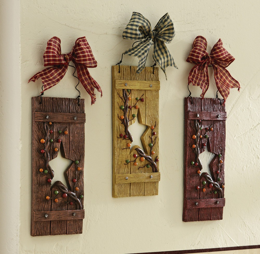 3 pc primitive country folk art star shutters with bows and berries wall art new ebay. Black Bedroom Furniture Sets. Home Design Ideas