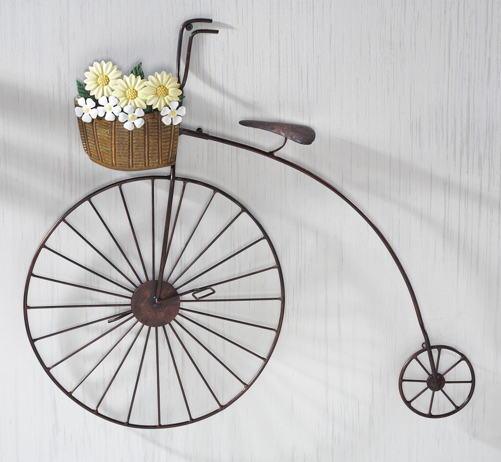 Wall Art Metal Bicycle : Old fashioned iron penny farthing bicycle metal wall art