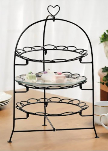 3 tier metal heart cake plate rack stand buffet dessert