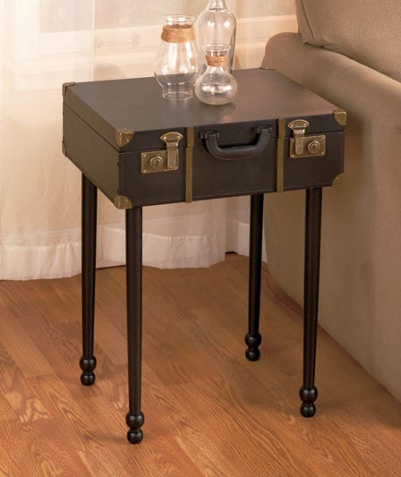 vintage luggage storage trunk furniture wall shelf end table coffee table new ebay. Black Bedroom Furniture Sets. Home Design Ideas