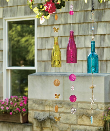 Glass bottle wind chimes yellow butterfly pink flower blue for Glass bottle wind chimes