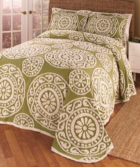 Chenille bedspreads or shams bedding medallion print for King shams on queen bed