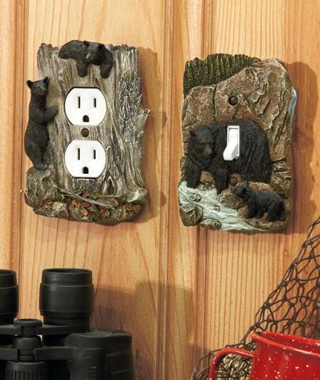 Rustic Wildlife Lodge Log Cabin Decor 3d Outlet Or Light