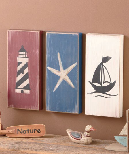 3 pc nautical wall art set lighthouse starfish sailboat seaside beach decor new ebay. Black Bedroom Furniture Sets. Home Design Ideas