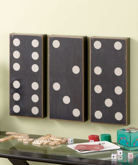 3 pc dominoes wall art set black white game room decor new ebay. Black Bedroom Furniture Sets. Home Design Ideas