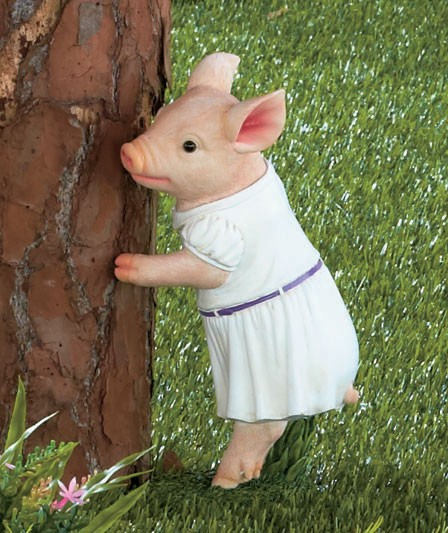 Hide And Seek Pig GIRL Or BOY Garden Statues Farm Outdoor Yard Art