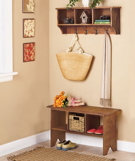Foyer Bench And Shelf : Entryway storage bench and wall cubbies simple home
