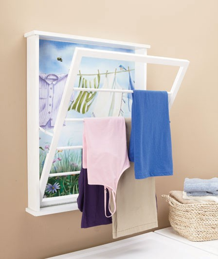 laundry room wall mount decorative wooden pull down drying clothes rack new ebay. Black Bedroom Furniture Sets. Home Design Ideas