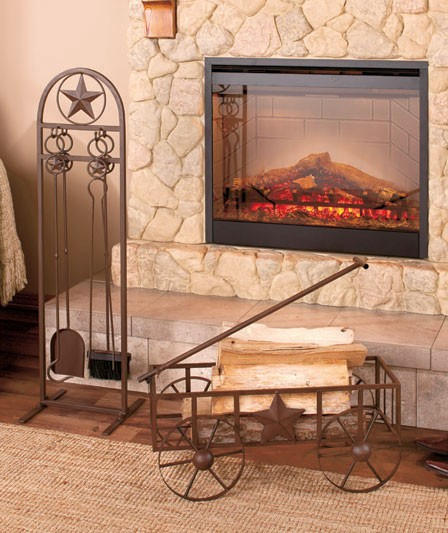 Rustic Country Star Iron Fireplace Accessories Fireplace Tool Set Log Wagon New