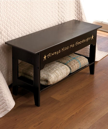 Bedroom Storage Bench Seat Shelf Black Or Walnut Sentimental Quotes New