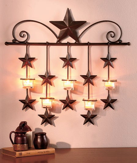 metal rustic barn star country home decor wall sconce 21 3 4 x 20 1 4 new ebay. Black Bedroom Furniture Sets. Home Design Ideas