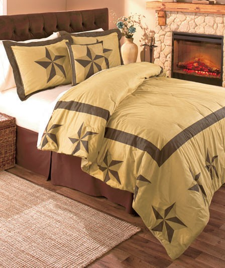 Rustic barn star country sueded bedding comforter pillow for King shams on queen bed