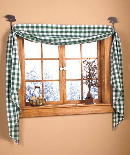 Hunter Green Kitchen Curtains: Country Home Fishtail Swag Burgundy Red Or Hunter Green