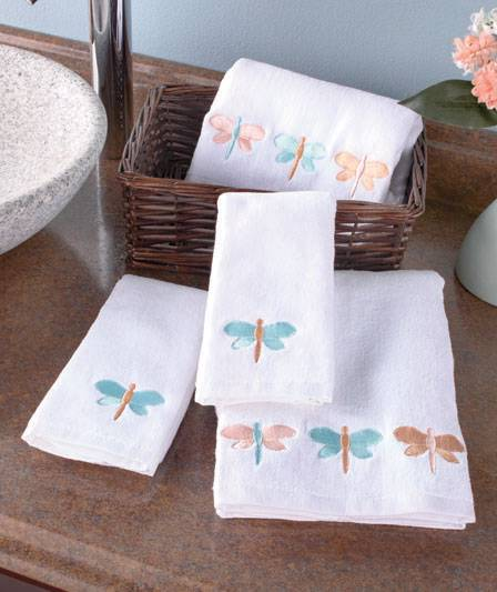 4 Pc Embroidered Bathroom Towel Sets Hummingbirds