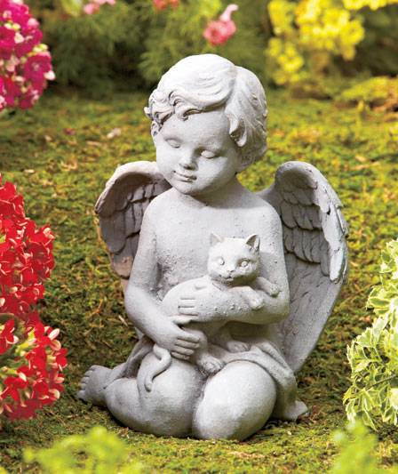 New Angel With Pet Memorial Garden Statue With Cat Or Dog