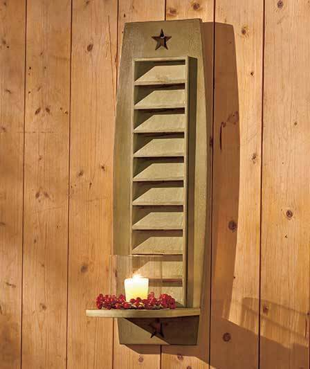 Country rustic wooden shutter wall sconce sage green for Country shutters