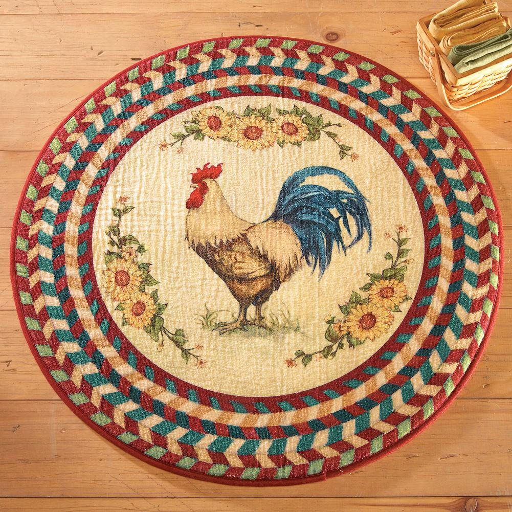 Country farmhouse kitchen round rooster sunflowers area for Country style kitchen rugs