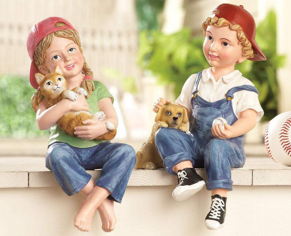 Kids Children Ledge Shelf Sitter Garden Statues Yard Art Boy or