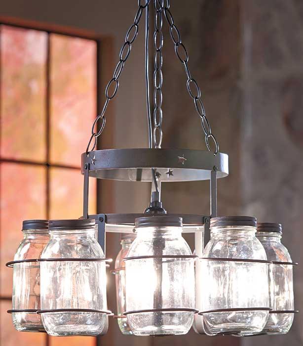 Mason Jar Chandelier: Country Rustic Hanging Wrought Iron Mason Canning Jar