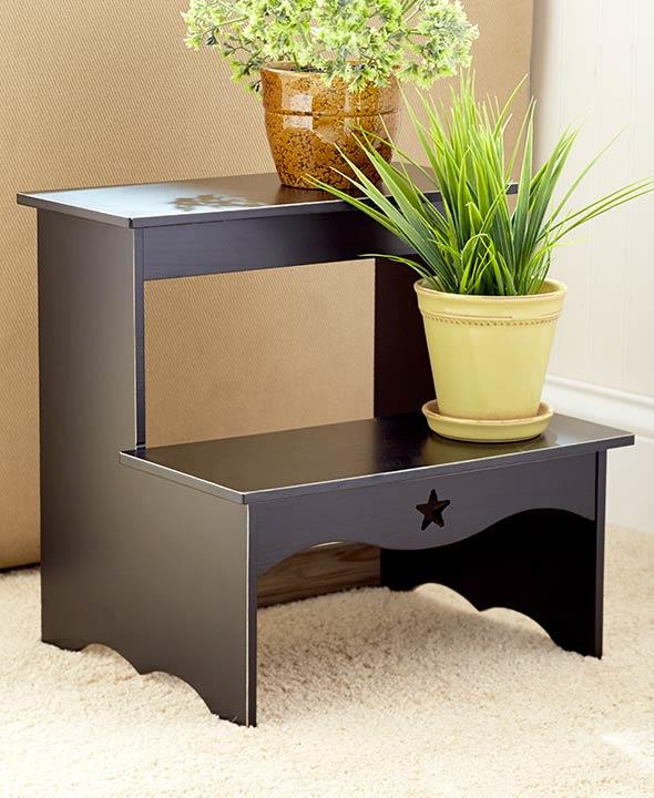 Green And Black Kitchen: Wooden Kitchen Country Star Step Stool Plant Stand Antique