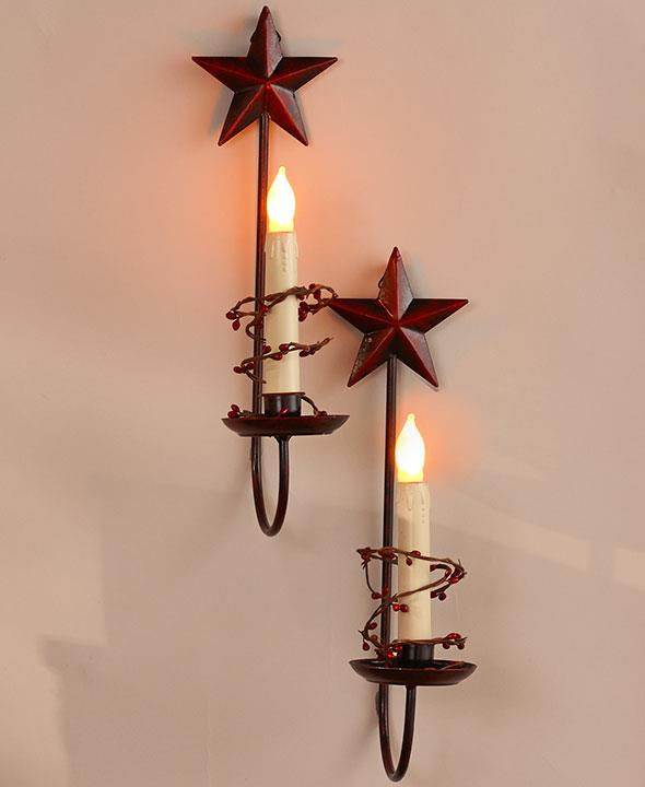 Country Wall Sconce Candle Holder : Set of 2 Primitive Country Berry Vine LED Candle Heart or Star Wall Sconces eBay