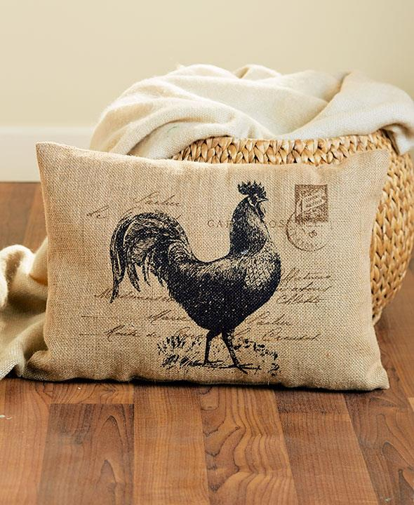 Large Vintage Rustic Burlap Country ROOSTER Decorative Throw Pillow NEW eBay