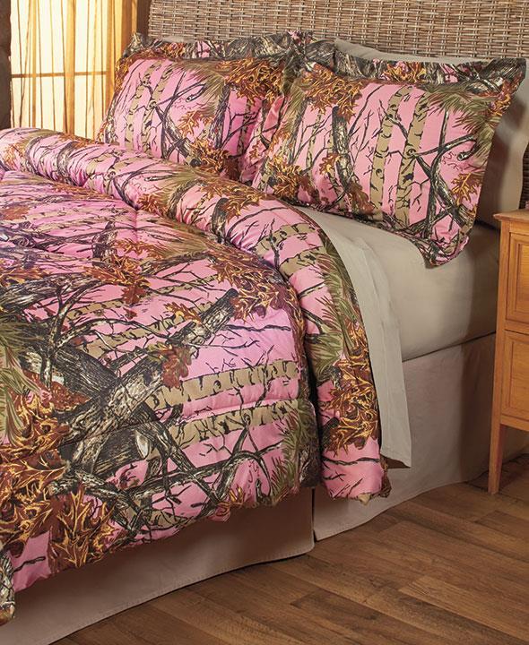 3 pc pink woods comforter shams set full queen camo camouflage new ebay. Black Bedroom Furniture Sets. Home Design Ideas