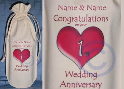 Wedding Party Gift Bags on Personalised   1st Wedding Anniversary Bottle Bag Gift   Ebay