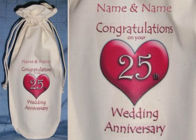 Details about PERSONALISED 25th WEDDING ANNIVERSARY BOTTLE BAG silver
