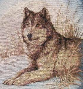 Grey wolf tapestry fabric panels material cushion pillow wall hanging