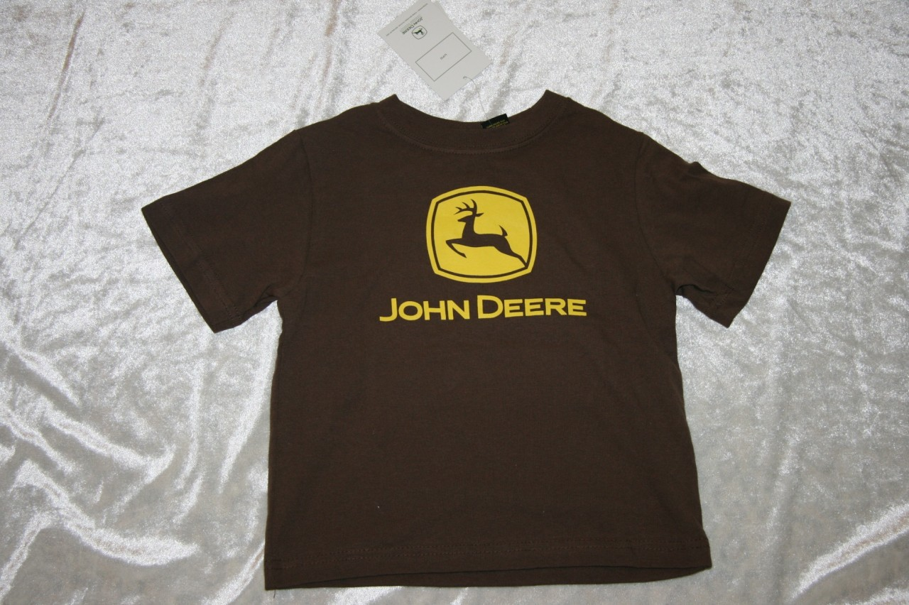 Nwt john deere 2t 3t 4t boys toddler tee t shirt brown s s for John deere shirts for kids