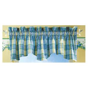 Waverly Home Classics Valley Plaid Lake Blue Yellow Scalloped Valance Ebay