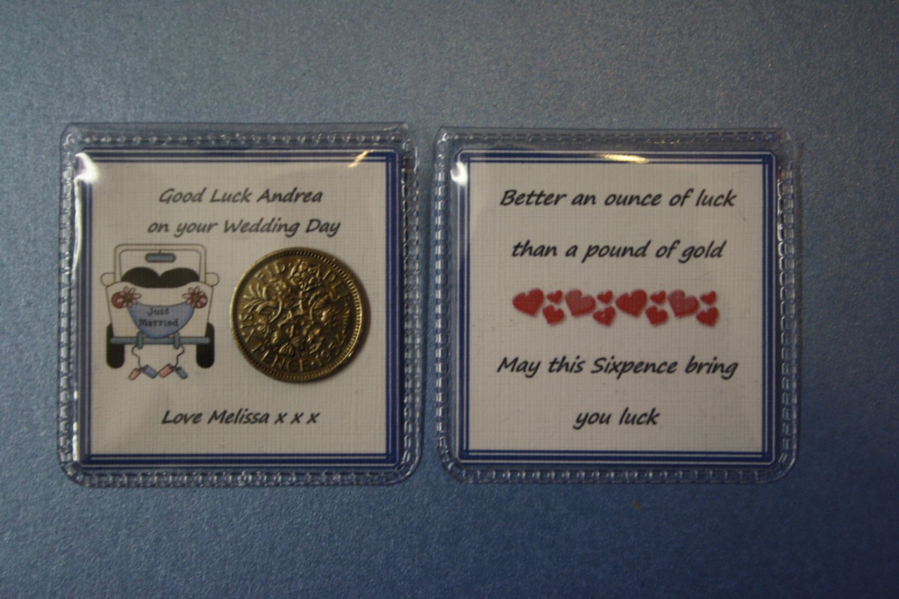 Personalised Wedding Good Luck Gifts : Details about Personalised LUCKY SIXPENCE Wedding GOOD LUCK Gift BRIDE ...