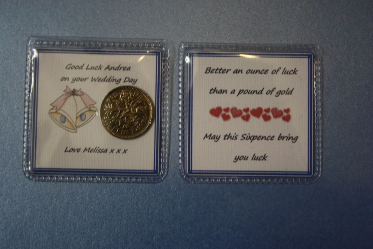 Wedding Gifts For Good Luck : Details about Personalised LUCKY SIXPENCE Wedding GOOD LUCK Gift BRIDE ...