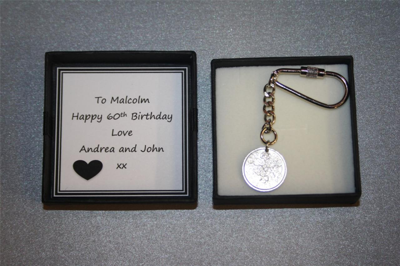 Personalised 60th birthday sixpence coin keyring keepsake for Idees cadeaux 60 ans homme