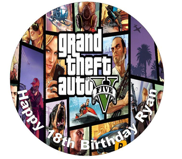 Grand Theft Auto Birthday Cake Decorations Party
