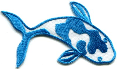 Japanese koi carp fish tattoo japan love blue applique for Does fish have iron