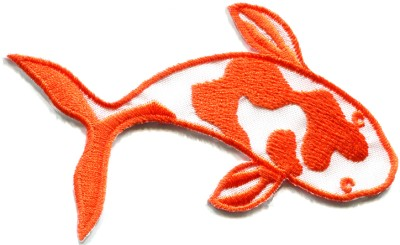 Japanese koi carp fish tattoo japan love orange applique for Does fish have iron