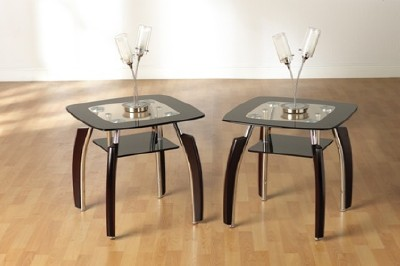 Black Glass Lamp Tables: Elena Black Glass and Chrome Lamp table,Lighting