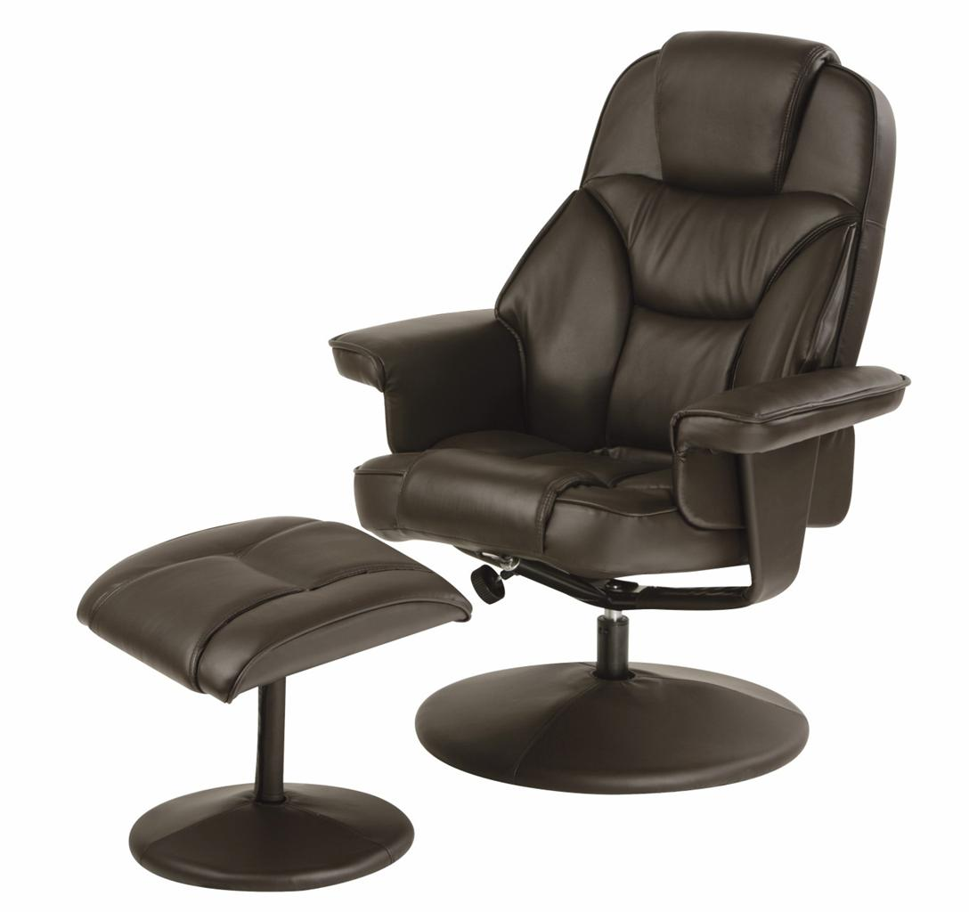 swivel recliner chair with footstool black cream brown faux leather