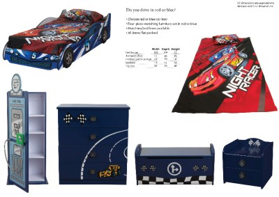 Red Formula Sweet Dreams Racing Car Single Bed Frame 3ft