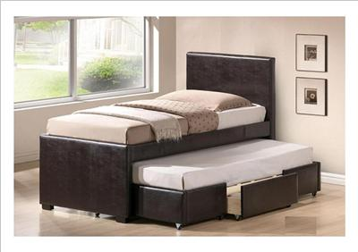 Nathan Brown Faux Leather Single Bed With Pull Out Guest Bed Drawer New Ebay