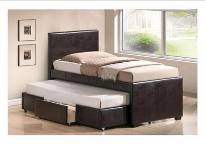 Nathan brown faux leather single bed with pull out guest bed drawer new ebay - Single leather bed with drawers ...