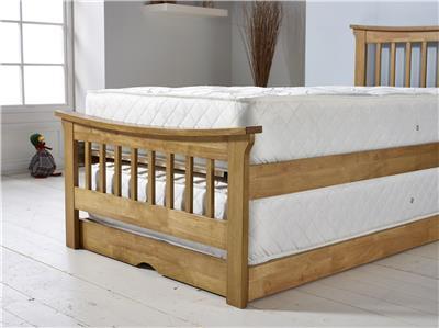 lia guest bed frame solid wood wooden trundle bedstead honey oak 90cm 3ft single ebay. Black Bedroom Furniture Sets. Home Design Ideas